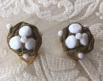 Vintage Cluster Clip On Earrings Gold Rope and White Bead 1950s