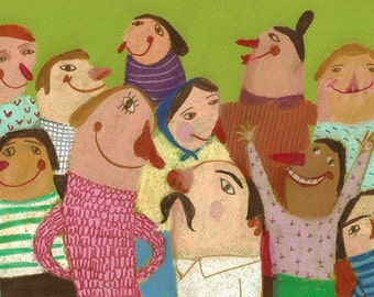 Crowd / Green background / Funny people / Mustache / Smiling people / Colorful / Children illustration