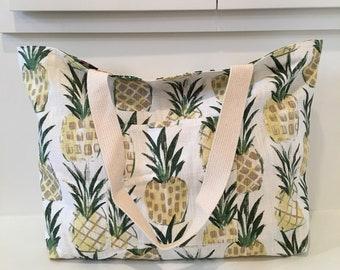 Reversible Pineapples Tote/ Beach Bag / Market Bag