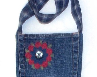 Upcycled Small Denim Shoulder Purse with Two Pockets and Flower Decoration - P15