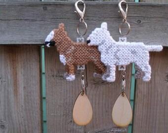 Bull Terrier crate tag standard miniature kennel art dog hanger or home decor, Magnet option, Choose your color