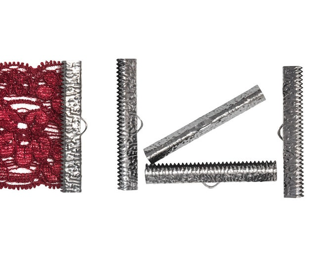 16 pieces  40mm  ( 1 9/16 inch ) Gunmetal Ribbon Clamp End Crimps - Artisan Series
