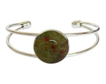 Silver plated cabochon bracelet - unakite