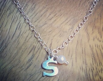 Mothers Day Sale Classic Monogram Initial Sterling Silver Neckace with pearl You choose letter