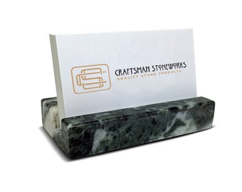 Green Marble - Business Card Holder - Office Desk Home, Recycled Marble, Business Gift