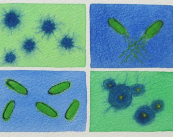 Green and Blue Microbes - original watercolor painting of bacteria