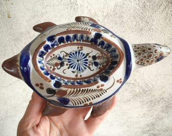 Tonala Turtle Ashtray, Mexican Pottery Tortoise, Turtle Folk Art, Turtle Gifts for Smoker