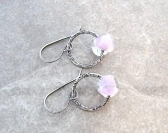 silver earrings, textured hoop earrings, fine silver rings, silver and lampwork glass earrings, lavender earrings, oxidized jewelry
