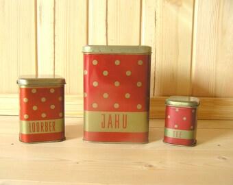Soviet polka dot containers Soviet tins Polka dot tin set of 3 Retro kitchen decor Red polka dots Dotted kitchen decor Farmhouse kitchen