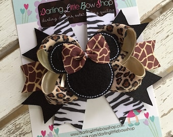Miss Mouse Bow - Animal Kingdom Miss Mouse Bow - leopard, giraffe, zebra, Darling Little Bow Shop