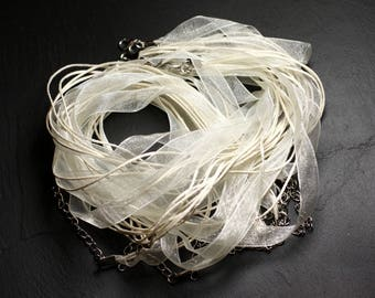 10pc - towers neck 47 cm cream ivory white cotton and Organza necklaces - 4558550100542