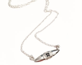 Bright Eye Necklace, Eye Necklace, Evil Eye Necklace, Gemstone Necklace, Third Eye Necklace, Black Spinel Necklace, Pendant Necklace