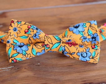 Boys Orange Floral  Bow Tie, boy's cotton blue flowers bowtie, infant toddler child preteen, pre-tied, wedding bow tie, gift, first birthday