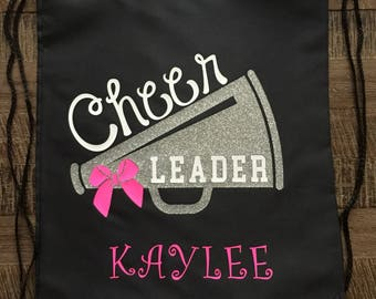 Cheerleader Glitter Megaphone Drawstring Bag/Backpack, Cheer Bag