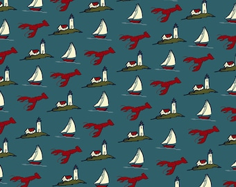 Pattern - Lobster, Lighthouse, Sailboat (Art Prints available in multiple sizes)