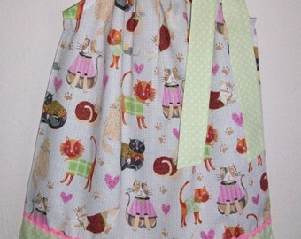 2t Girls Dress with Cats Pillowcase Dress with Kittens Toddler Dress with Kitties Cat Dress Kitty Cat Dress Cat Birthday Ready to Ship