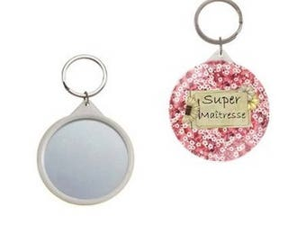 key button with mirror on the back 58mm, great teacher, liberty floral
