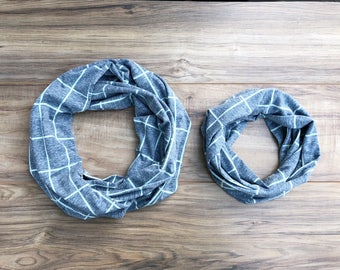 Mommy and Me Matching Infinity Scarves Scarf Set READY TO SHIP - Heather Blue and gray
