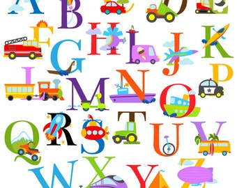 Transportation Alphabet Clipart Clip Art, Construction Alphabet, Uppercase - Commercial and Personal Use