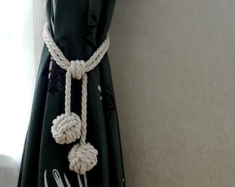 Set of 2, Curtain tie back, Drape holdback, Monkey Fist Knot Tassel Curtain Tie Backs, White Rope Tie Back, Nautical curtain tie back