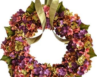 Housewarming Gift Ideas | Blended Hydrangea Wreath | New Home Housewarming Gift | Front Door Wreaths | Spring Wreaths | Spring Porch Decor