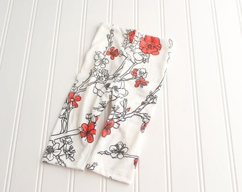 Japanese Cherry Blossoms - newborn pants in black, white and red floral blossom pattern (RTS)