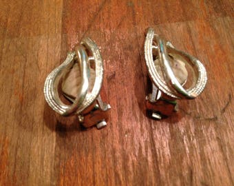 Vintage Silver Toned Abstract Sarah Coventry Clip On Earrings