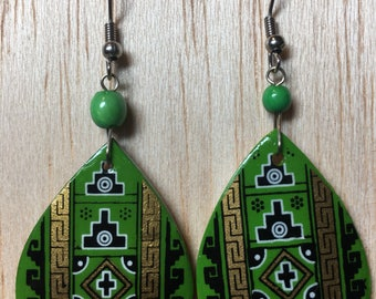 Emerald Potential | Hand-painted Artisan Earrings