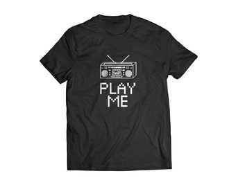 Play Me T Shirt Adult funny vintage Boombox t shirt tee shirt funny nonsense beatbox vintage music style t shirt inspired Play Me t shirt