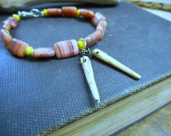 Sushi 101. Beaded Vintage Glass bracelet & handmade mini chopsticks
