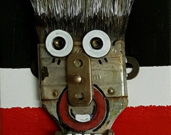 Art fun humorous art canvas paint brush art recycled brush up cycled THE DECISION MAKER  brush funny art Hair brain funny artbyevelynmarie
