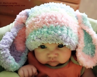 0 to 3m Newborn Rainbow Bunny Baby Hat Baby Boy Girl Bunny Hat, Newborn Baby Hat Crochet Bunny Ears, Rainbow Hat Newborn Photograpy Prop