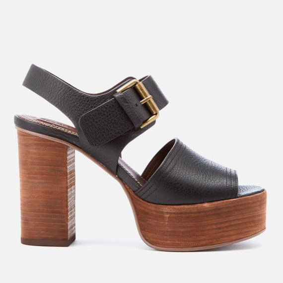 Brand new in box See by Chloe black leather stacked platform sandals size 5.5 M