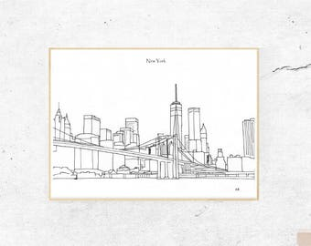 New York Print, New York Digital Poster, City Skyline, Black and White Print, New York Cityscape, New York City Skyline Printable File, NYC