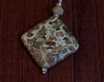 Rhyolite Pendant Sterling Silver Chain Necklace