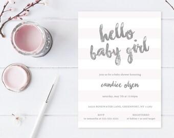 Baby Shower Invitation, Girl Baby Shower Invitation, Pink Baby Shower Invitation, Baby Shower Invites, Girl Baby Shower, Baby Girl [453]