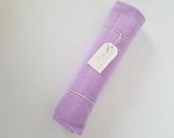 Muslin Swaddle Blanket. Double gauze blanket. Lilac muslin blanket. X-large blanket