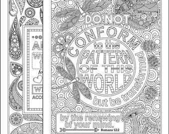 2 Printable Bible Coloring Pages; Romans 8 28  and Romans 2 12 Coloring Pages; Scripture Coloring