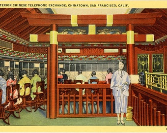 Chinese Telephone Exchange Chinatown San Francisco California Vintage Postcard 1940s (unused)