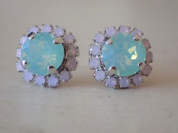 Chrysolite Opal and Rose Water Opal Swarovski Crystal Earrings, Silver