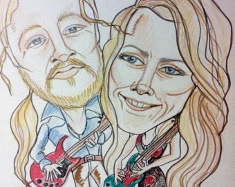 Susan Tedeschi Derek Trucks Rock Portrait Rock Caricature Music Art by Leslie Mehl Art