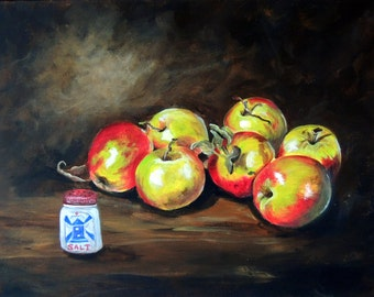 Apples and salt print reproduction of original painting