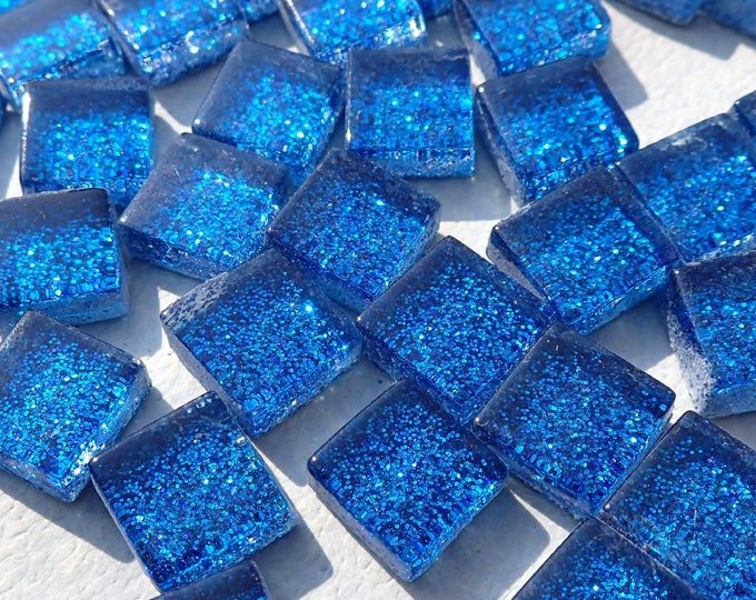 Blue Tiny Glitter Tiles - 1 cm - Use for Mosaic Jewelry Crafts - 100 Metallic Tiny Glass Tiles in Medium Blue