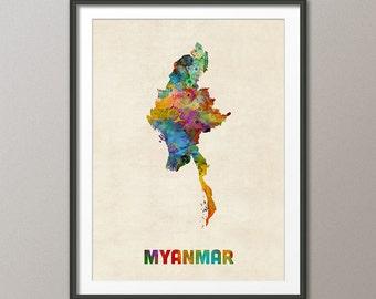 Plan aquarellé de Myanmar, Art Print (2130)