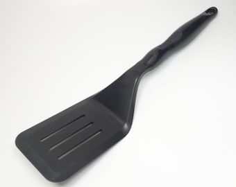 Vintage Vollrath USA Black Nylon Heat Resistant to 475F Slotted Spatula Turner Lifter Flipper Black Nylon Slotted Spatula Turner Lifter USA