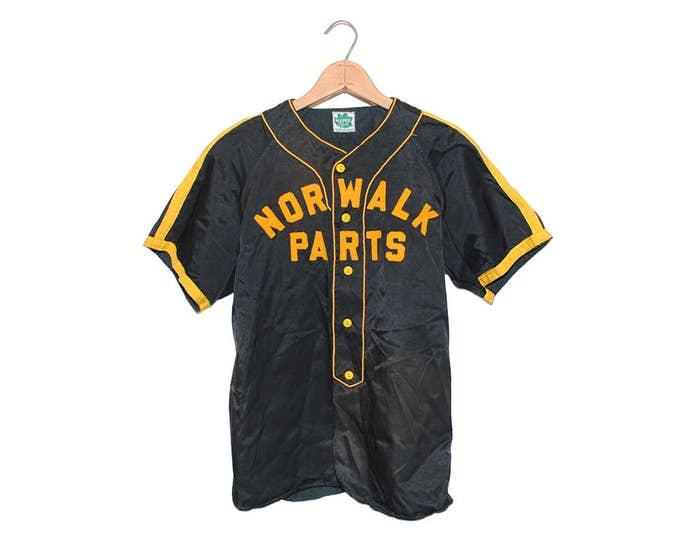 "Vintage Maple Mfg. Co. ""Norwalk Parts"" #17 Black & Yellow Baseball Jersey Shirt Made in USA - Small (OS-AS-5)"