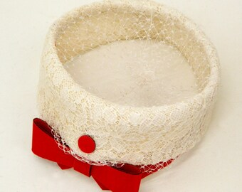 Vintage Pillbox Hat ... White Lace Pillbox Hat with Red Bow ... 1950s Ladies Hat