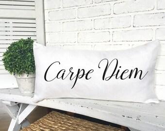 CARPE DIEM PILLOW, Faux Burlap, Inspirational Pillow,Seize The Day Pillow,Home Decorating,Decorative Pillow