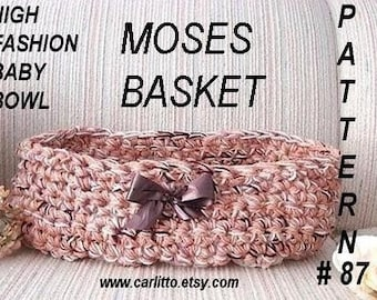 crochet pattern, baby basket cocoon, baby accessories - # 87, Baby Basket/Bowl/Cocoon/ Moses Basket  fits up to 3 months.instant download