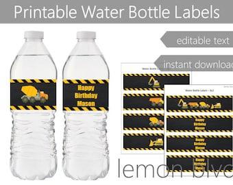 Construction Party Bottle Labels | Construction Instant Digital Download | Editable Text | Construction Party Water Bottle Labels